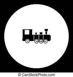 eps10, simples, pretas, antigas, silueta, locomotiva, ícone