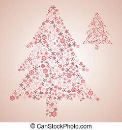 eps10, sněhové vločky, strom, rozmanitý, vánoce, červeň