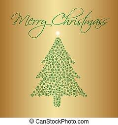 eps10, sněhové vločky, zlatý, strom, Blahopřání, Grafické Pozadí, Karta, vánoce