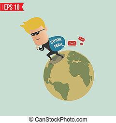 eps10, spam, -, voleur, illustration, vecteur, courrier