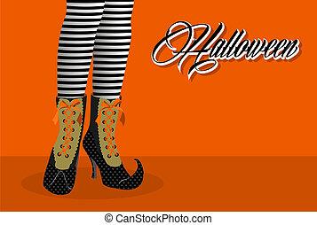 eps10, spooky, halloween, ilustracja, czarownica, nogi, file., szczęśliwy