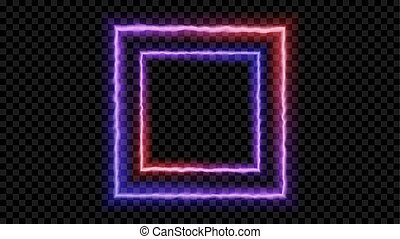 Square Purple and red neon light on a transparent background. Neon frame for your design. Vector illustration.