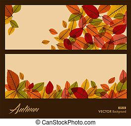 eps10, stagione, leaves., trasparente, autunno, fondo., cadere, file.