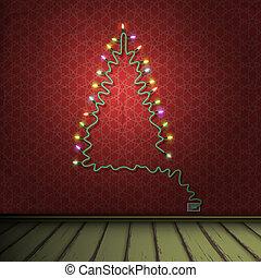 eps10, stanza, ghirlanda, lights., formato, albero, vettore...