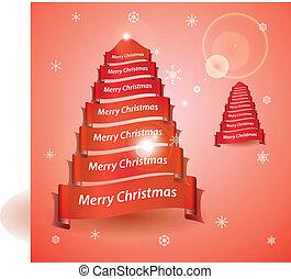 eps10, strom, lem, veselý, standarta, vánoce, červeň