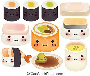 eps10, sushi, -, collection, vecteur, fichier