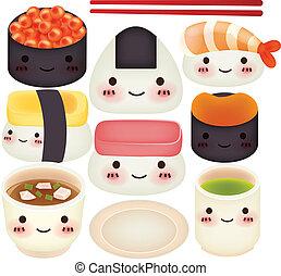 eps10, sushi, -, gyűjtés, vektor, reszelő