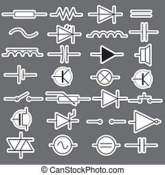eps10, symboler, ingenjörsvetenskap, elektrisk, schematisk, ...