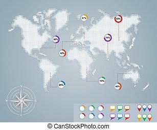 eps10, százalék, térkép, infographics, világ, karika, file.