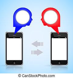 eps10, téléphone, mobile, texte, ton, message., vecteur, appeler, endroit, ou