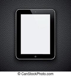 eps10, tablet, realistiske, isoleret, gråne, computer pc., baggrund.