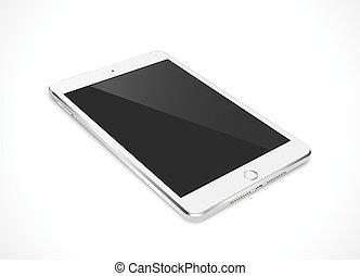 eps10, tablette, réaliste, écran, isolé, illustration, pc, vecteur, noir, arrière-plan., blanc, informatique