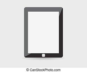 eps10, tablette, réaliste, écran, isolé, pc, vecteur, arrière-plan., vide, blanc, informatique