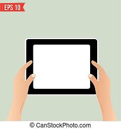 eps10, tavoletta, -, illustrazione, vettore, tenere mani