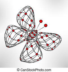 eps10, tecnologia, energia, illustrazione, farfalla, vettore, baluginante, astratto