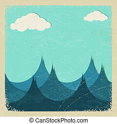 eps10, tempestuoso, paper., ilustração, mar, nuvens