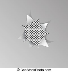 Torn hole in white sheet of paper on transparent background