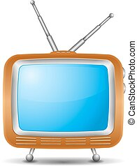 eps10, tv, illustration, vecteur, retro, icône