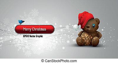 eps10, urso teddy,  , vetorial, fundo, bandeira, natal