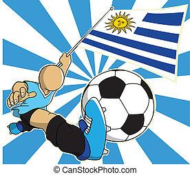 eps10, uruguay, giocatore, vettore, calcio, cartone animato
