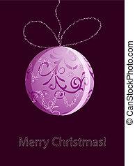 eps10, vector christmas card with shiny pink ball, snowflakes and stars
