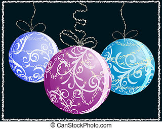 eps10, vector christmas card with three shiny balls, snowflakes and stars