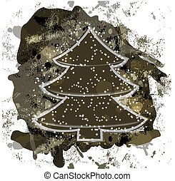 eps10, vector christmas tree on grunge background with blots and splashes