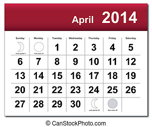 EPS10 vector file. April 2014 calendar. The EPS file includes the version in blue, green and black in different layers. Raster version available in my portfolio.