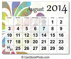 August 2014 calendar.