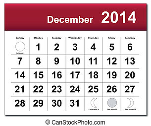 December 2014 calendar - EPS10 vector file. December 2014...