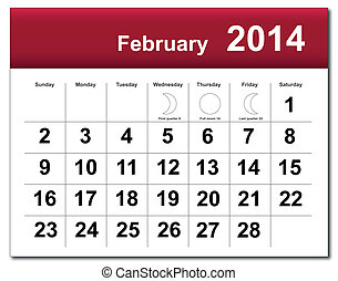 EPS10 vector file. February 2014 calendar. The EPS file includes the version in blue, green and black in different layers. Raster version available in my portfolio.