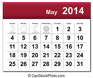 May 2014 calendar - EPS10 vector file. May 2014 calendar....