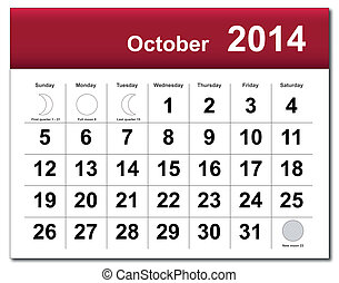 EPS10 vector file. October 2014 calendar. The EPS file includes the version in blue, green and black in different layers. Raster version available in my portfolio.