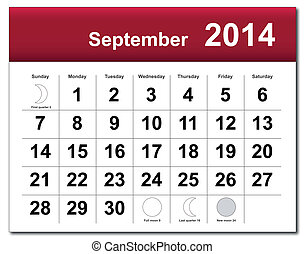 EPS10 vector file. September 2014 calendar. The EPS file includes the version in blue, green and black in different layers. Raster version available in my portfolio.