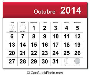 October 2014 calendar.