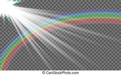 Vector illustration of sun rays, rainbow after rain, storm clouds. On a transparent background