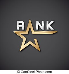EPS10 vector rank golden star inscription icon