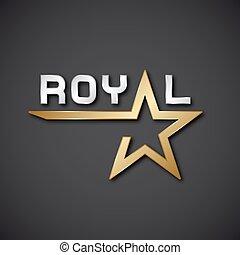 EPS10 vector royal golden star inscription icon