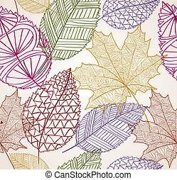 eps10, vendimia, hojas, seamless, otoño, fondo., patrón,...