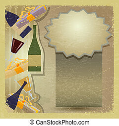 eps10, vendimia, vidrio., botella, tarjeta, vino