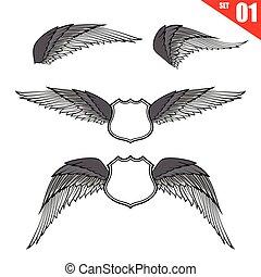 eps10, verzameling, element, 001, vector, ontwerp, illustratie, vleugels