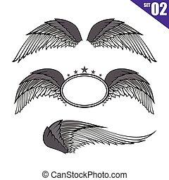 eps10, verzameling, element, 002, vector, ontwerp, illustratie, vleugels