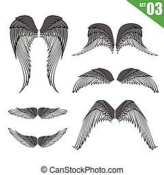 eps10, verzameling, element, 003, vector, ontwerp, illustratie, vleugels
