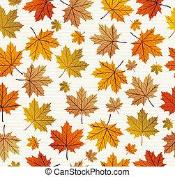eps10, vindima, folhas, seamless, outono, experiência., padrão, file.