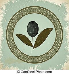 eps10, vindima, imagem, ornament., grego, ramo, azeitona, ...