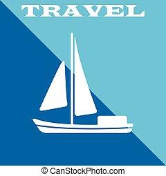 eps10, voyage, illustration, vecteur, poster., icon., bateau