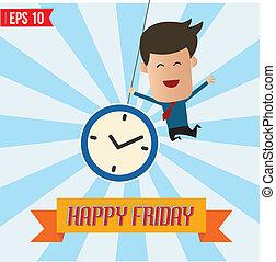 eps10, vrijdag, -, illustratie, vector, zakenman, spotprent, vrolijke