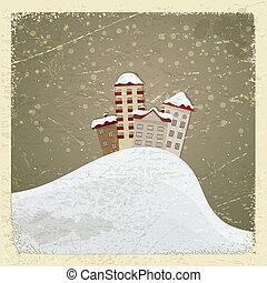 eps10, vykort, årgång, snow., hus, grupp