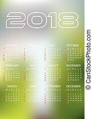 eps10, zakelijk, eenvoudig, abstract, muur, 2018, achtergrond, verdoezelen, kalender, kleur
