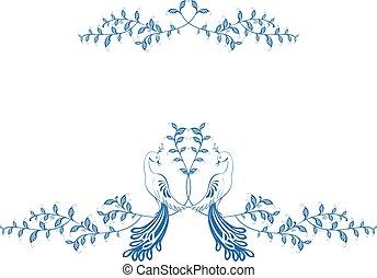 eps10, zittende , pattern., illustratie, berries., vector, tak, paradijs, vogels